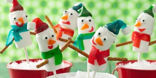 munecos de nieve con frutas